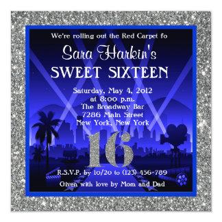 Glitter Red Carpet Hollywood Sweet 16 Invitation