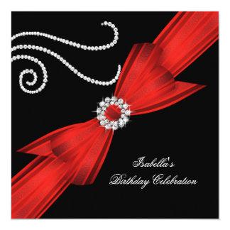 Glitter Red Diamond Bow Black Birthday Party 3 Invitations