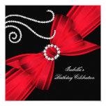 Glitter Red Diamond Bow Black Birthday Party 3a Card