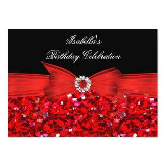 Glitter Red Diamond Bow Black Birthday Party Card