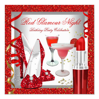 Glitter Red Glamour Night Cocktails Party Invitation