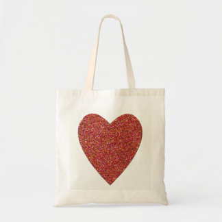 Glitter Red Heart Wedding Budget Tote Bag