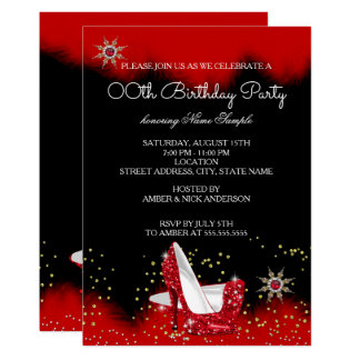 Glitter Red High Heel Black Gold Snowflake Party Card