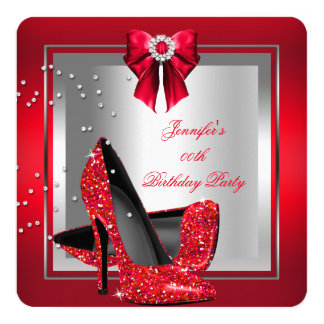 Glitter Red High Heel Shoe Silver Birthday Party Card