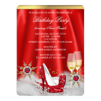 Glitter Red High Heel Shoes Gold Champagne Party Card