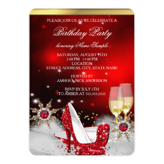 Glitter Red High Heel Shoes Silver Gold Champagne 5x7 Paper Invitation Card