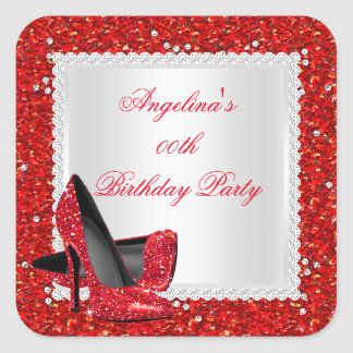 Glitter Red High Heels Birthday Party Diamond Square Sticker