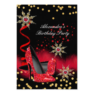 Glitter Red High Heels Black Birthday Party Card