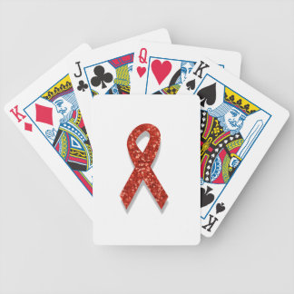 glitter red ribbon bicycle playing cards