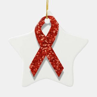 glitter red ribbon ceramic ornament