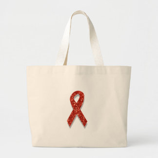 glitter red ribbon large tote bag