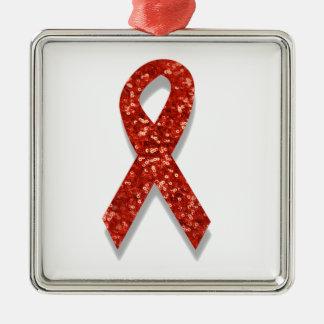glitter red ribbon metal ornament
