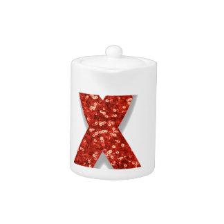 glitter red ribbon teapot