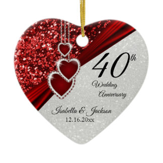 Glitter Red Ruby 40th Anniversary 💕 Keepsake Ceramic Ornament