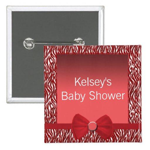 Glitter Red Zebra Print Baby Shower 2 Inch Square Button