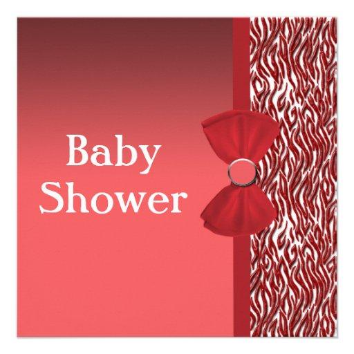 glitter red zebra print baby shower personalized invitations zazzle
