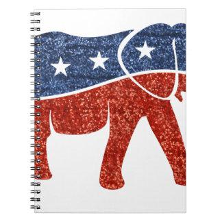 glitter republican elephant spiral notebook