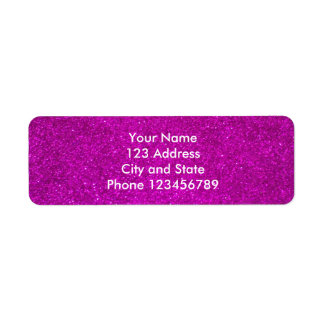 Glitter return address labels | faux pink glimmers