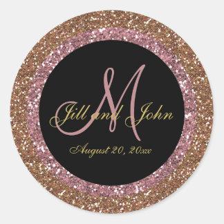 Glitter Rose Gold Champagne Wedding Monogram Classic Round Sticker
