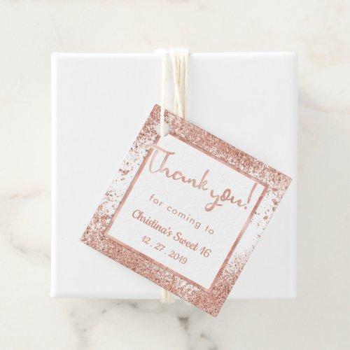Glitter rose gold pale pink white thanks  Elegant Favor Tags