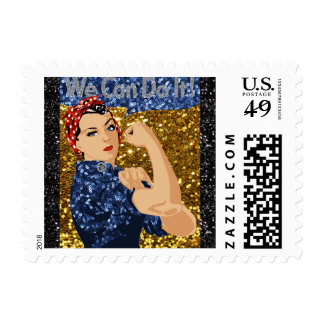 glitter rosie the riveter postage postal stamps