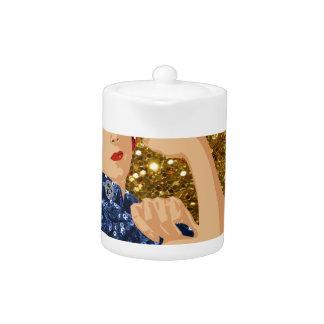 glitter rosie the riveter teapot