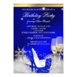 Glitter Royal Blue High Heel Shoes Gold Champagne 5x7 Paper Invitation Card