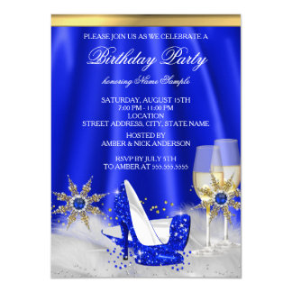 Glitter Royal Blue High Heels Gold Champagne Party Card