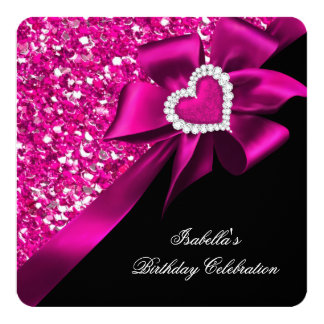 Glitter Royal Hot Pink Heart Bow Black Party Card