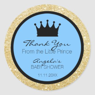 Glitter Royal Lil Little Prince Baby Shower Blue