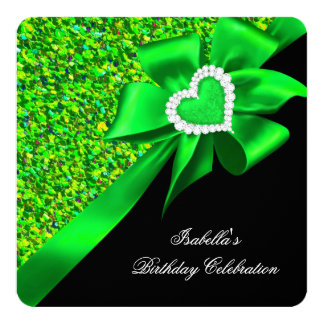 Glitter Royal Lime Green Heart Bow Black Party Card