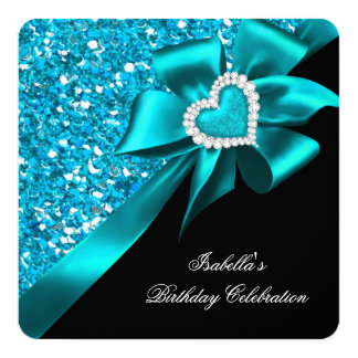 Glitter Royal Teal Blue Heart Bow Black Party Card