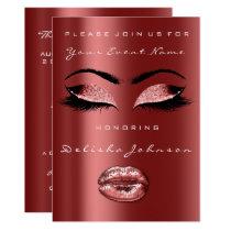 Glitter Ruby Maroon Bridal Shower Sweet 16th Card