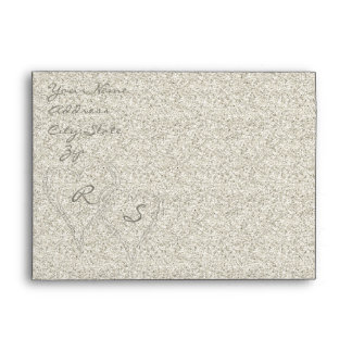 Glitter Sandy  Beach Wedding Envelope