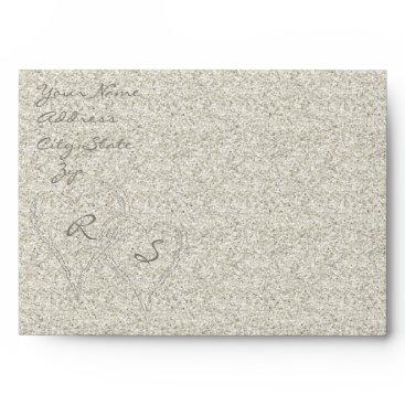 Beach Themed Glitter Sandy  Beach Wedding Envelope