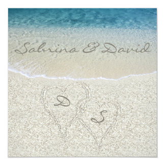Glitter Sandy  Beach Wedding Invitation