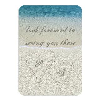 Glitter Sandy  Beach Wedding rsvp Card