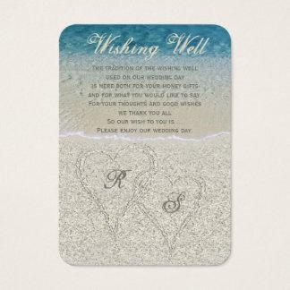 Glitter Sandy Beach Wedding Wishing Well Business Card