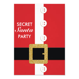 Glitter Santa Suit Holiday Party Invitations