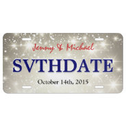 Glitter Save The Date - Custom Sparkle Wedding License Plate at Zazzle