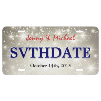 Glitter Save the Date - Custom Sparkle Wedding License Plate