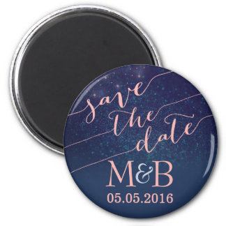 Glitter Save The Date magnets Blush and blue