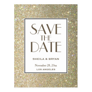 Glitter Save The Date Post Card