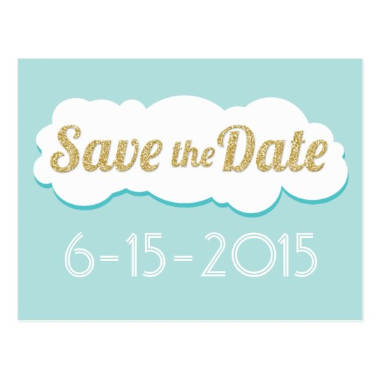 Glitter Save The Date Postcard Aqua
