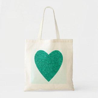 Glitter Sea Green Heart Wedding Tote Bag