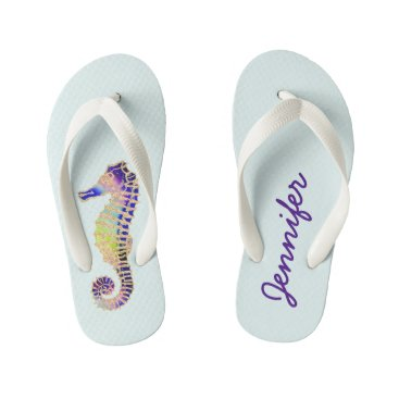 Beach Themed Glitter Seahorse, blue, gold Kid's Flip Flops