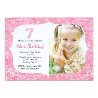 Glitter Seventh Birthday Invitation