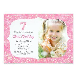 Glitter Seventh Birthday Invitation