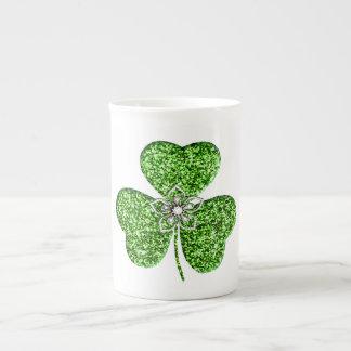 Glitter Shamrock And Flower Bone China Mug