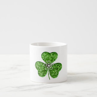 Glitter Shamrock And Flower Espresso Mug 6 Oz Ceramic Espresso Cup